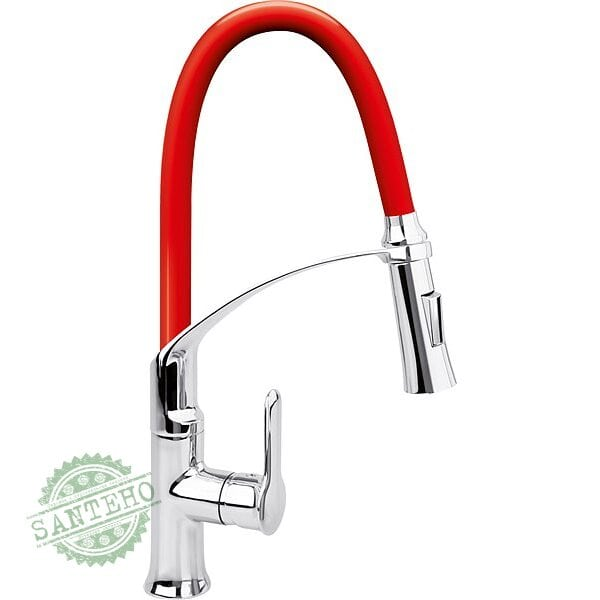 """Смеситель воды для раковины """"FLEXIBLE-2"""" FALA с гибкой красной насадкой и регулировкой потока воды 60 см"""