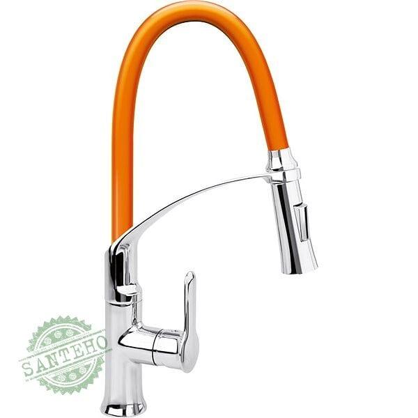 """Смеситель воды для раковины """"FLEXIBLE-2"""" FALA с гибкой оранжевой воронкой и регулировкой потока воды 60 см"""
