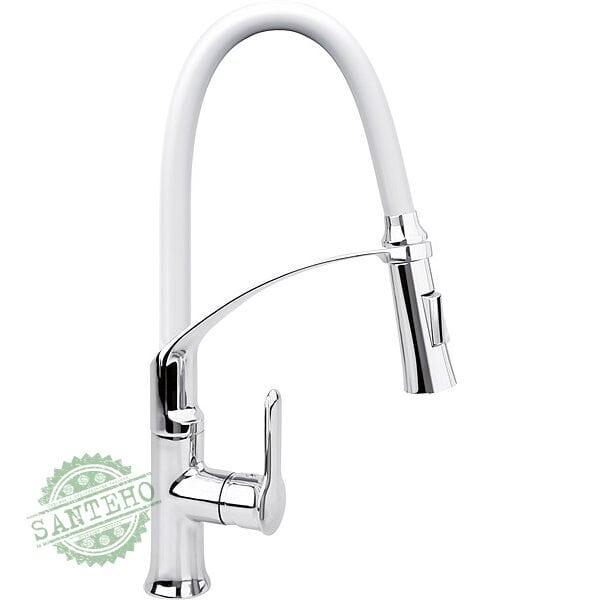 """Смеситель воды для раковины """"FLEXIBLE-2"""" FALA с гибкой белой воронкой и регулировкой потока воды 60 см"""
