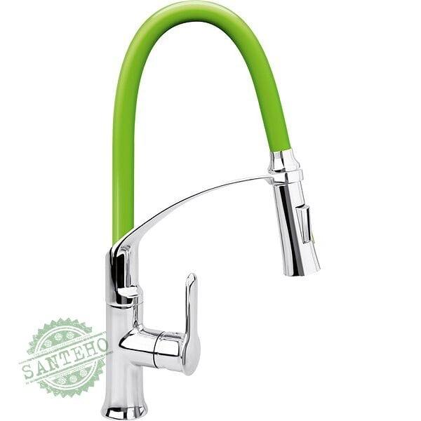 """Смеситель воды для раковины """"FLEXIBLE-2"""" FALA с гибкой зеленой воронкой и регулировкой потока воды 60 см"""